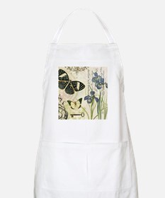 modern vintage French butterflies and iris Apron
