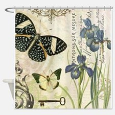 modern vintage French butterflies and iris Shower