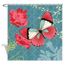 Heather Myers 063 POPPIES AND BUTTERFLY Shower Cur