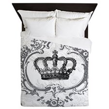 Vintage french shabby chic crown Queen Duvet