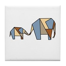 Geometric Elephants Tile Coaster