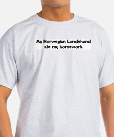 Norwegian Lundehund ate my ho Ash Grey T-Shirt