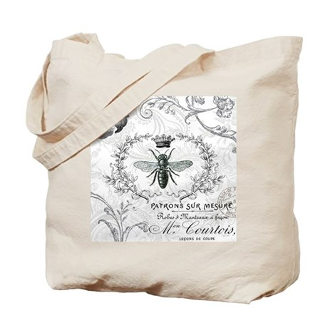 Vintage french shabby chic queen bee collage Tote