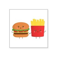 Kawaii Burger and Fries are best pals Sticker