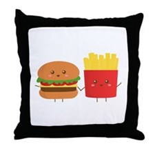 Kawaii Burger and Fries are best pals Throw Pillow