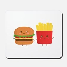 Kawaii Burger and Fries are best pals Mousepad