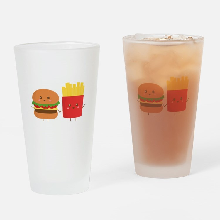 Kawaii Burger and Fries are best pals Drinking Gla