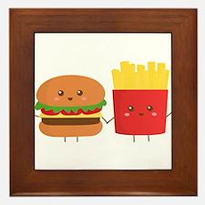Kawaii Burger and Fries are best pals Framed Tile