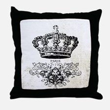 Vintage french shabby chic crown Throw Pillow
