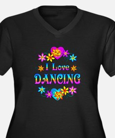 I Love Dancing Women's Plus Size V-Neck Dark T-Shi