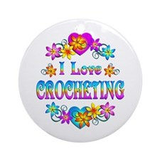 I Love Crocheting Ornament (Round)