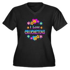 I Love Crocheting Women's Plus Size V-Neck Dark T-