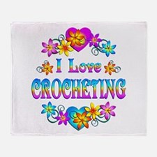 I Love Crocheting Throw Blanket
