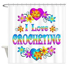 I Love Crocheting Shower Curtain