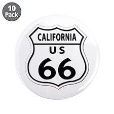 "U.S. ROUTE 66 - CA 3.5"" Button (10 pack)"