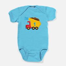 Dump Truck I'm 1 Baby Bodysuit