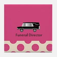 funeral director pink Tile Coaster