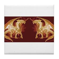 Gold Dragons Tile Coaster