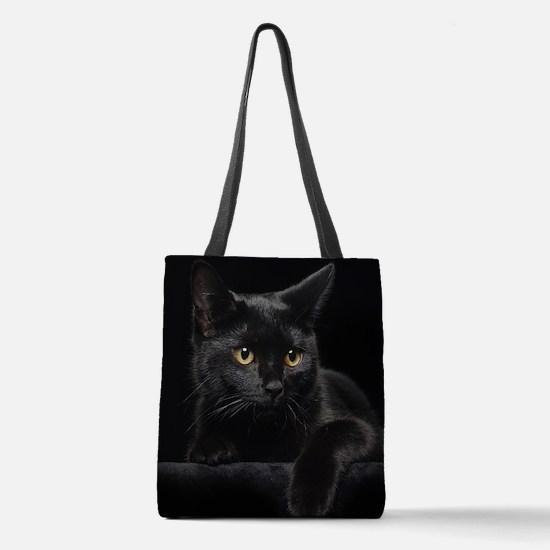 Black Cat Polyester Tote Bag