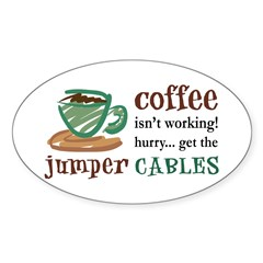 Get the Jumper Cables Oval Decal