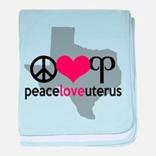 Peace Love Uterus TEXAS baby blanket