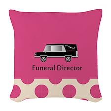 funeral director pink Woven Throw Pillow