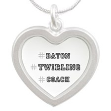 Hashtag Twirl Silver Heart Necklace