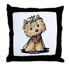 Tiny Heart Yorkie Throw Pillow