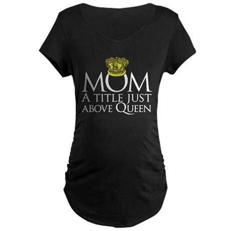 MOM - A title just above queen Maternity Dark T-Sh