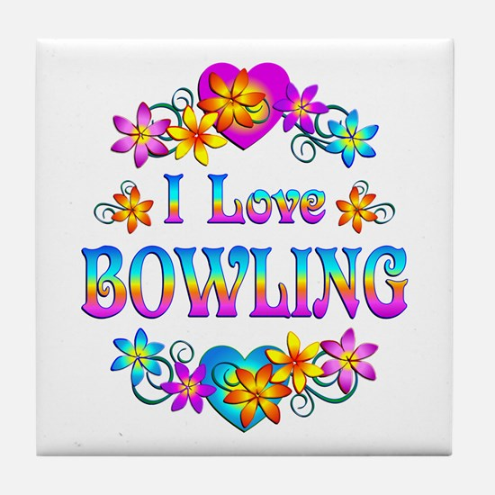 I Love Bowling Tile Coaster