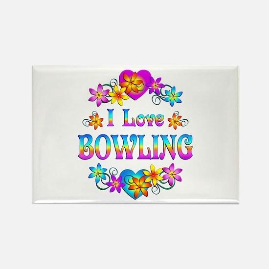 I Love Bowling Rectangle Magnet