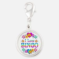 I Love Bingo Silver Round Charm