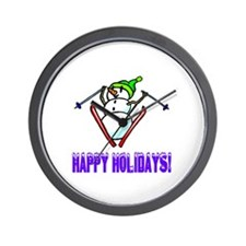 Frosty Ski's Happy Holidays Wall Clock