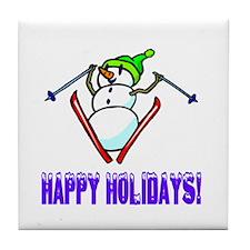 Frosty Ski's Happy Holidays Tile Coaster