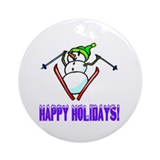 Frosty Ski's Happy Holidays Ornament (Round)