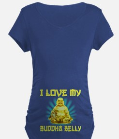 I Love My Buddha Belly Maternity T-Shirt