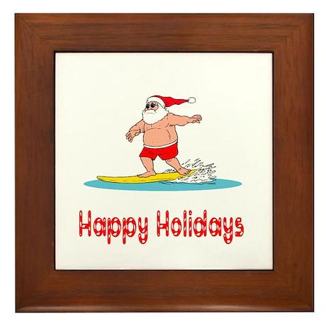Santa Surfs Happy Holidays Framed Tile