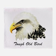 Tough Old Bird Quote with Bald Eagle Throw Blanket