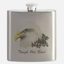 Tough Old Bird Quote with Bald Eagle Flask