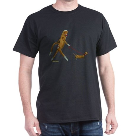 Sock Monkey and Dachshund Dark T-Shirt
