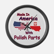 America With Polish Parts Large Wall Clock