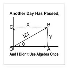 "I Didn't Use Algebra Once Square Car Magnet 3"" x 3"