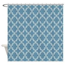 Sky Blue Moroccan Quatrefoil Shower Curtain