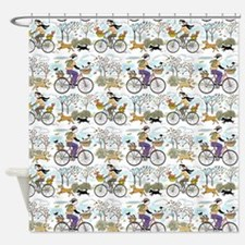 Bike Riders and Dogs Shower Curtain