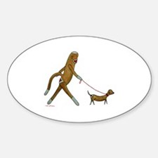 Sock Monkey and Dachshund Oval Decal