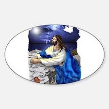 Jesus Praying Oval Decal