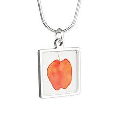 Apple Silver Square Necklace