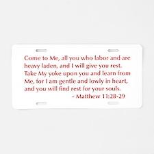Matthew-11-28-29-opt-burg Aluminum License Plate