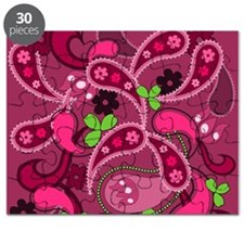 Modern Pink & Green Paisley Puzzle