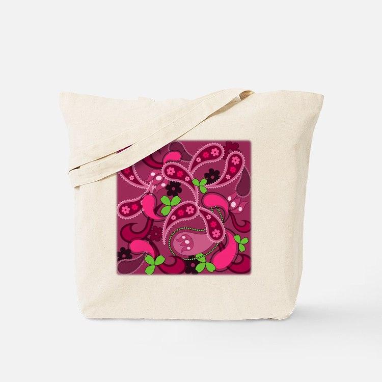 Modern Pink & Green Paisley Tote Bag